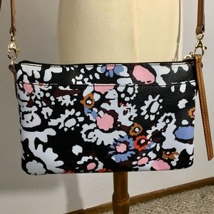 Fossil Dark Floral Faux Leather Adjustable Purse